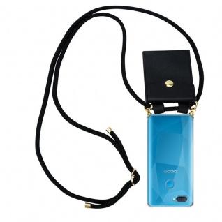 Cadorabo Handy Kette für Oppo A12 in SCHWARZ Silikon Necklace Umhänge Hülle mit Gold Ringen, Kordel Band Schnur und abnehmbarem Etui Schutzhülle