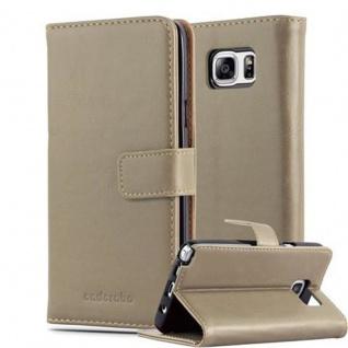 Cadorabo Hülle für Samsung Galaxy NOTE 5 in CAPPUCCINO BRAUN Handyhülle mit Magnetverschluss, Standfunktion und Kartenfach Case Cover Schutzhülle Etui Tasche Book Klapp Style