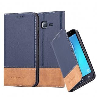 Cadorabo Hülle für Samsung Galaxy J3 / J3 DUOS 2016 in BLAU BRAUN - Handyhülle mit Magnetverschluss, Standfunktion und Kartenfach - Case Cover Schutzhülle Etui Tasche Book Klapp Style