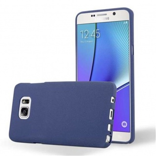 Cadorabo Hülle für Samsung Galaxy NOTE 5 in FROST DUNKEL BLAU - Handyhülle aus flexiblem TPU Silikon - Silikonhülle Schutzhülle Ultra Slim Soft Back Cover Case Bumper
