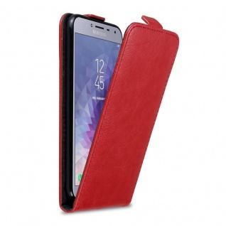 Cadorabo Hülle für Samsung Galaxy J4 2018 in APFEL ROT Handyhülle im Flip Design mit unsichtbarem Magnetverschluss Case Cover Schutzhülle Etui Tasche Book Klapp Style