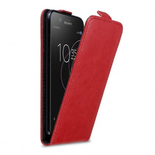 Cadorabo Hülle für Sony Xperia XZ1 COMPACT in APFEL ROT - Handyhülle im Flip Design mit Magnetverschluss - Case Cover Schutzhülle Etui Tasche Book Klapp Style