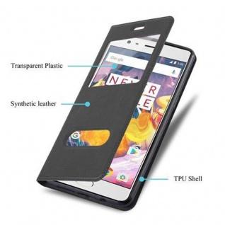 Cadorabo Hülle für OnePlus 3 / 3T in KOMETEN SCHWARZ ? Handyhülle mit Magnetverschluss, Standfunktion und 2 Sichtfenstern ? Case Cover Schutzhülle Etui Tasche Book Klapp Style - Vorschau 3