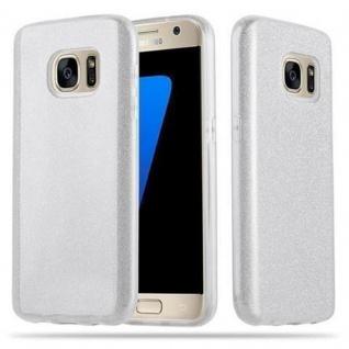 Cadorabo Hülle für Samsung Galaxy S7 - Hülle in STERNENSTAUB SILBER - TPU Silikon und Hardcase Handyhülle im Glitzer Design - Hard Case TPU Silikon Schutzhülle
