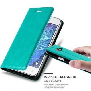 Cadorabo Hülle für Samsung Galaxy J1 2015 in PETROL TÜRKIS - Handyhülle mit Magnetverschluss, Standfunktion und Kartenfach - Case Cover Schutzhülle Etui Tasche Book Klapp Style