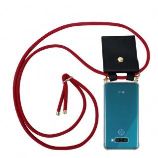 Cadorabo Handy Kette für LG Q60 in RUBIN ROT - Silikon Necklace Umhänge Hülle mit Gold Ringen, Kordel Band Schnur und abnehmbarem Etui ? Schutzhülle