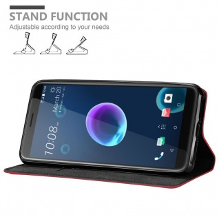 Cadorabo Hülle für HTC Desire 12 in APFEL ROT Handyhülle mit Magnetverschluss, Standfunktion und Kartenfach Case Cover Schutzhülle Etui Tasche Book Klapp Style - Vorschau 4
