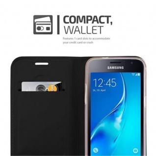 Cadorabo Hülle für Samsung Galaxy J1 2016 in CLASSY SCHWARZ - Handyhülle mit Magnetverschluss, Standfunktion und Kartenfach - Case Cover Schutzhülle Etui Tasche Book Klapp Style - Vorschau 3