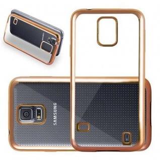 Cadorabo Hülle für Samsung Galaxy S5 / S5 NEO - Hülle in TRANSPARENT mit CHROM GOLD ? Handyhülle aus TPU Silikon im Chrom Design - Silikonhülle Schutzhülle Ultra Slim Soft Back Cover Case Bumper