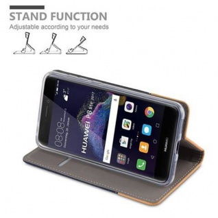 Cadorabo Hülle für Huawei P8 LITE 2017 in DUNKEL BLAU BRAUN - Handyhülle mit Magnetverschluss, Standfunktion und Kartenfach - Case Cover Schutzhülle Etui Tasche Book Klapp Style - Vorschau 4