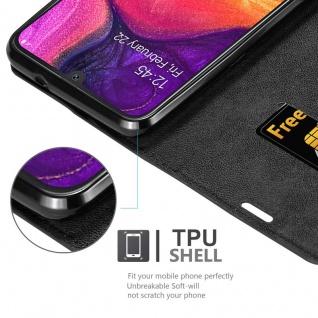 Cadorabo Hülle für Samsung Galaxy A50 in NACHT SCHWARZ - Handyhülle mit Magnetverschluss, Standfunktion und Kartenfach - Case Cover Schutzhülle Etui Tasche Book Klapp Style - Vorschau 2