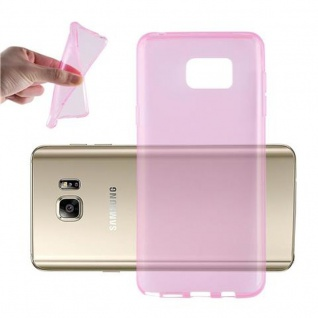 Cadorabo Hülle für Samsung Galaxy NOTE 5 in TRANSPARENT PINK - Handyhülle aus flexiblem TPU Silikon - Silikonhülle Schutzhülle Ultra Slim Soft Back Cover Case Bumper