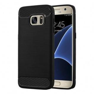 Cadorabo Hülle für Samsung Galaxy S7 - Hülle in BRUSHED SCHWARZ - Handyhülle aus TPU Silikon in Edelstahl-Karbonfaser Optik - Silikonhülle Schutzhülle Ultra Slim Soft Back Cover Case Bumper
