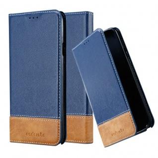 Cadorabo Hülle für Samsung Galaxy NOTE 3 NEO in DUNKEL BLAU BRAUN ? Handyhülle mit Magnetverschluss, Standfunktion und Kartenfach ? Case Cover Schutzhülle Etui Tasche Book Klapp Style