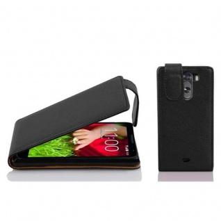 Cadorabo Hülle für LG G2 MINI - Hülle in OXID SCHWARZ ? Handyhülle aus strukturiertem Kunstleder im Flip Design - Case Cover Schutzhülle Etui Tasche