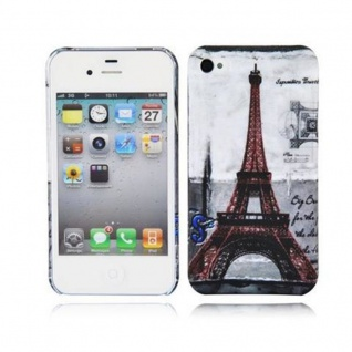 Cadorabo - Hard Cover für Apple iPhone 4 / iPhone 4S - Case Cover Schutzhülle Bumper im Design: PARIS - EIFFELTURM