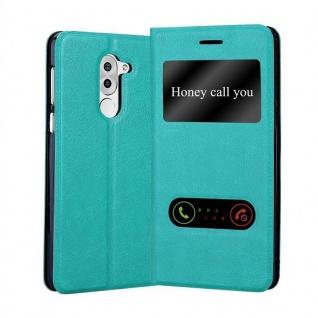 Cadorabo Hülle für Honor 6X in MINT TÜRKIS Handyhülle mit Magnetverschluss, Standfunktion und 2 Sichtfenstern Case Cover Schutzhülle Etui Tasche Book Klapp Style