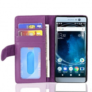 Cadorabo Hülle für Sony Xperia XA2 in BORDEAUX LILA ? Handyhülle mit Magnetverschluss und 3 Kartenfächern ? Case Cover Schutzhülle Etui Tasche Book Klapp Style