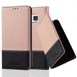 Cadorabo Hülle für Samsung Galaxy ALPHA in GOLD SCHWARZ Handyhülle mit Magnetverschluss, Standfunktion und Kartenfach Case Cover Schutzhülle Etui Tasche Book Klapp Style