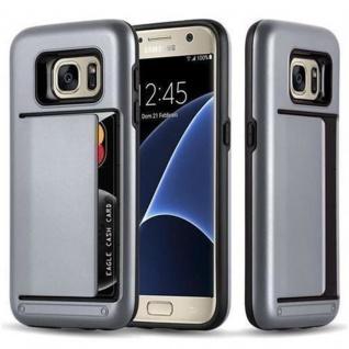 Cadorabo Hülle für Samsung Galaxy S7 - Hülle in ARMOR SILBER ? Handyhülle mit Kartenfach - Hard Case TPU Silikon Schutzhülle für Hybrid Cover im Outdoor Heavy Duty Design
