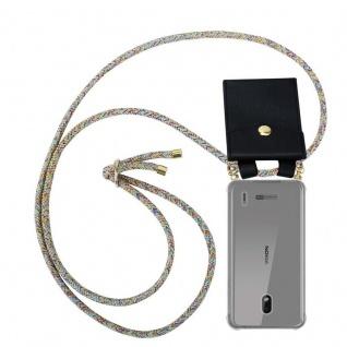 Cadorabo Handy Kette für Nokia 2.2 in RAINBOW - Silikon Necklace Umhänge Hülle mit Gold Ringen, Kordel Band Schnur und abnehmbarem Etui ? Schutzhülle
