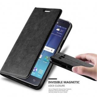 Cadorabo Hülle für Samsung Galaxy J5 2015 in NACHT SCHWARZ - Handyhülle mit Magnetverschluss, Standfunktion und Kartenfach - Case Cover Schutzhülle Etui Tasche Book Klapp Style