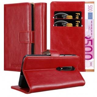 Cadorabo Hülle für Nokia 6.1 2018 in WEIN ROT Handyhülle mit Magnetverschluss, Standfunktion und Kartenfach Case Cover Schutzhülle Etui Tasche Book Klapp Style
