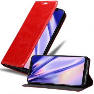 Cadorabo Hülle für Xiaomi Mi 8 in APFEL ROT Handyhülle mit Magnetverschluss, Standfunktion und Kartenfach Case Cover Schutzhülle Etui Tasche Book Klapp Style
