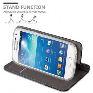 Cadorabo Hülle für Samsung Galaxy S4 MINI in DUNKEL BLAU SCHWARZ - Handyhülle mit Magnetverschluss, Standfunktion und Kartenfach - Case Cover Schutzhülle Etui Tasche Book Klapp Style - Vorschau 5