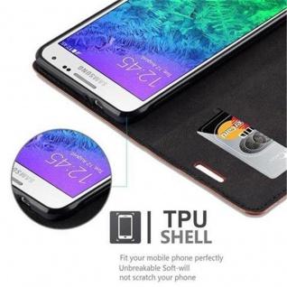 Cadorabo Hülle für Samsung Galaxy ALPHA in CAPPUCCINO BRAUN - Handyhülle mit Magnetverschluss, Standfunktion und Kartenfach - Case Cover Schutzhülle Etui Tasche Book Klapp Style - Vorschau 4