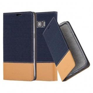 Cadorabo Hülle für Samsung Galaxy S8 in DUNKEL BLAU BRAUN - Handyhülle mit Magnetverschluss, Standfunktion und Kartenfach - Case Cover Schutzhülle Etui Tasche Book Klapp Style