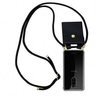 Cadorabo Handy Kette für Sony Xperia 1 in SCHWARZ Silikon Necklace Umhänge Hülle mit Gold Ringen, Kordel Band Schnur und abnehmbarem Etui Schutzhülle