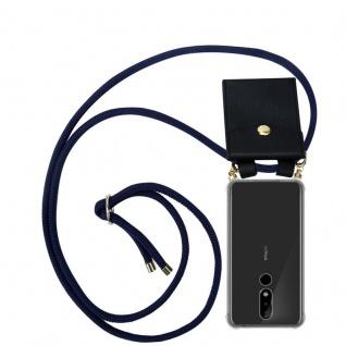 Cadorabo Handy Kette für Nokia 5.1 Plus in TIEF BLAU - Silikon Necklace Umhänge Hülle mit Gold Ringen, Kordel Band Schnur und abnehmbarem Etui ? Schutzhülle