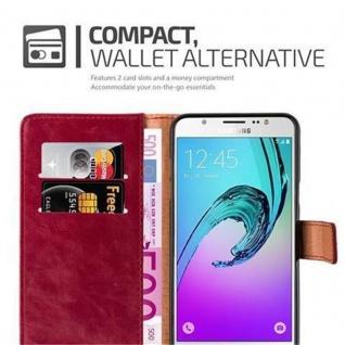 Cadorabo Hülle für Samsung Galaxy J7 2016 in WEIN ROT - Handyhülle mit Magnetverschluss, Standfunktion und Kartenfach - Case Cover Schutzhülle Etui Tasche Book Klapp Style - Vorschau 3