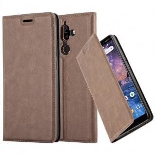 Cadorabo Hülle für Nokia 7 PLUS in KAFFEE BRAUN - Handyhülle mit Magnetverschluss, Standfunktion und Kartenfach - Case Cover Schutzhülle Etui Tasche Book Klapp Style