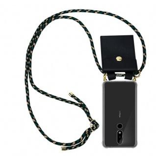 Cadorabo Handy Kette für Nokia 5.1 Plus in CAMOUFLAGE Silikon Necklace Umhänge Hülle mit Gold Ringen, Kordel Band Schnur und abnehmbarem Etui Schutzhülle