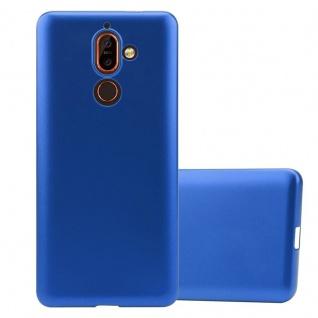 Cadorabo Hülle für Nokia 7 PLUS in METALLIC BLAU Handyhülle aus flexiblem TPU Silikon Silikonhülle Schutzhülle Ultra Slim Soft Back Cover Case Bumper