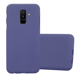 Cadorabo Hülle für Samsung Galaxy A6 PLUS 2018 in FROST DUNKEL BLAU - Handyhülle aus flexiblem TPU Silikon - Silikonhülle Schutzhülle Ultra Slim Soft Back Cover Case Bumper