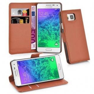 Cadorabo Hülle für Samsung Galaxy ALPHA in SCHOKO BRAUN - Handyhülle mit Magnetverschluss, Standfunktion und Kartenfach - Case Cover Schutzhülle Etui Tasche Book Klapp Style