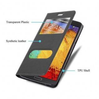 Cadorabo Hülle für Samsung Galaxy NOTE 3 in KOMETEN SCHWARZ ? Handyhülle mit Magnetverschluss, Standfunktion und 2 Sichtfenstern ? Case Cover Schutzhülle Etui Tasche Book Klapp Style - Vorschau 2