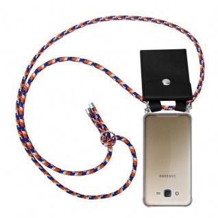 Cadorabo Handy Kette für Samsung Galaxy J7 2015 in ORANGE BLAU WEISS - Silikon Necklace Umhänge Hülle mit Silber Ringen, Kordel Band Schnur und abnehmbarem Etui - Schutzhülle
