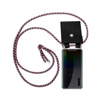 Cadorabo Handy Kette für Samsung Galaxy A90 5G in ROT GELB WEISS Silikon Necklace Umhänge Hülle mit Silber Ringen, Kordel Band Schnur und abnehmbarem Etui Schutzhülle