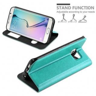 Cadorabo Hülle für Samsung Galaxy S6 EDGE in MINT TÜRKIS - Handyhülle mit Magnetverschluss, Standfunktion und 2 Sichtfenstern - Case Cover Schutzhülle Etui Tasche Book Klapp Style - Vorschau 4
