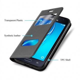 Cadorabo Hülle für Samsung Galaxy J1 2015 in KOMETEN SCHWARZ ? Handyhülle mit Magnetverschluss, Standfunktion und 2 Sichtfenstern ? Case Cover Schutzhülle Etui Tasche Book Klapp Style - Vorschau 5