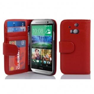 Cadorabo Hülle für HTC ONE M8 (2. Gen.) in INFERNO ROT - Handyhülle mit Magnetverschluss und 3 Kartenfächern - Case Cover Schutzhülle Etui Tasche Book Klapp Style