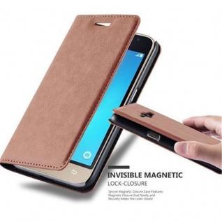 Cadorabo Hülle für Samsung Galaxy J1 2016 in CAPPUCCINO BRAUN - Handyhülle mit Magnetverschluss, Standfunktion und Kartenfach - Case Cover Schutzhülle Etui Tasche Book Klapp Style