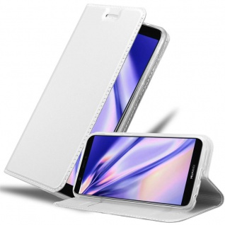 Cadorabo Hülle für Huawei P SMART 2018 / Enjoy 7S in CLASSY SILBER Handyhülle mit Magnetverschluss, Standfunktion und Kartenfach Case Cover Schutzhülle Etui Tasche Book Klapp Style