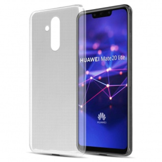 Cadorabo Hülle für Huawei MATE 20 LITE in VOLL TRANSPARENT Handyhülle aus flexiblem TPU Silikon Silikonhülle Schutzhülle Ultra Slim Soft Back Cover Case Bumper