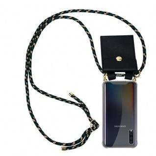 Cadorabo Handy Kette für Samsung Galaxy A30S in CAMOUFLAGE - Silikon Necklace Umhänge Hülle mit Gold Ringen, Kordel Band Schnur und abnehmbarem Etui - Schutzhülle