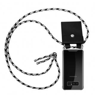 Cadorabo Handy Kette für Samsung Galaxy NOTE 8 in SCHWARZ CAMOUFLAGE - Silikon Necklace Umhänge Hülle mit Silber Ringen, Kordel Band Schnur und abnehmbarem Etui - Schutzhülle